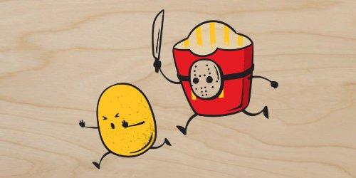 """French Fried Jason"" Funny Horror Film Parody - Plywood Wood Print Poster Wall Art"