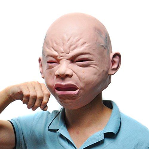 KingMas Halloween Creepy Cry Baby Full Head Face Latex Mask
