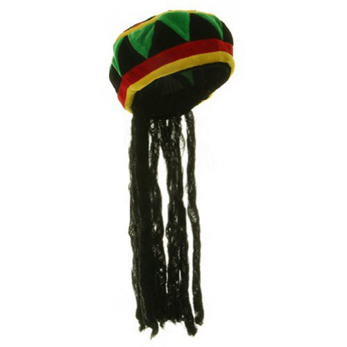 Jamaican Rhasta Hat with Dreadlocks