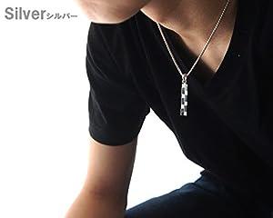 【シンプルでさり気ない存在感を演出してくれる大人アクセサリー】SV メンズ レディース ユニセックス ダミエ柄プレートネックレス (シルバー)