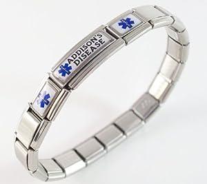 Addison's Disease Medical ID Alert Italian Charm Bracelet
