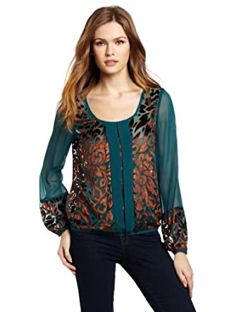 Lucky Brand Women's Wanderlust Buronout Top, Green Multi, Small