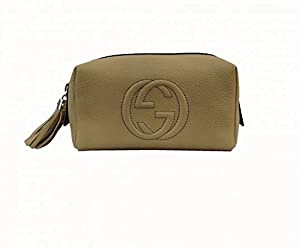 GUCCI Beauty Case Leather, Color Beige, Zip Closure with Pendant Detail, Internal Pocket, Logo