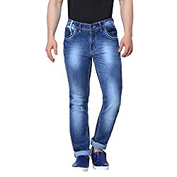 Gabon Blue Cotton Lycra jeans for Men