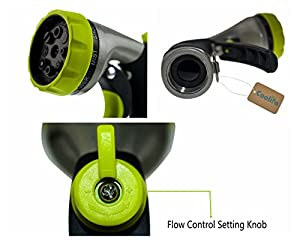 Coolife Garden Hose Nozzle/Hand Sprayer, 8 Pattern Spray Settings, Heavy Duty Metal Spray Nozzle, Pistol Grip Front Trigge, Flow Control Setting Knob, Suitable for Car Wash, Cleaning, Watering Lawn, Garden, Plants Washing Dogs & Pets