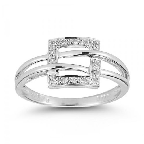Square shaped Sliver Ring setted with HI SI2-I1 Diamonds