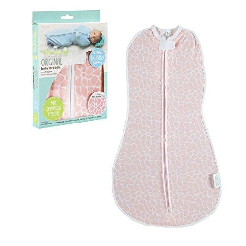 Woombie Original Baby Swaddle, Pink Giraffe, Big Baby 14-19 Lbs
