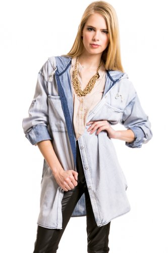 Hooded Acid Washed Jacket in Denim