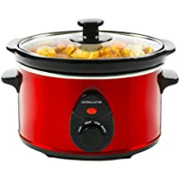 Andrew James 1.5 Litre Premium Red Slow Cooker with Tempered Glass Lid, Removable Ceramic Inner Bowl and Three Temperature Settings