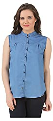 Fem&Her Women's Button Front Shirt (PP13, Blue, 38)