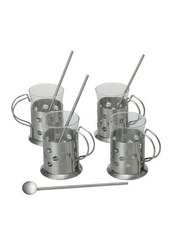 Ragalta USA RCS-050 8 Pieces Designer Stainless Steel and Glass Coffee Set