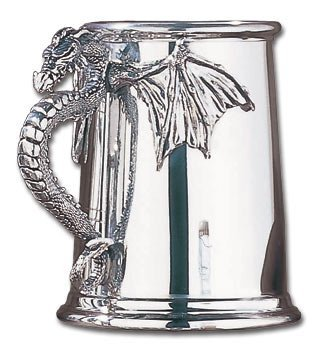 "Alchemy Of England - ""Silver Dragon"" Tankard - English Pewter Beer Stein - AE-AAT10"