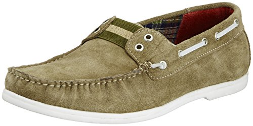Famozi Famozi Men's Leather Boat Shoes (Red)