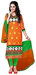 AAINA Women's Cotton Silk Unstitched Dress Material (Orange)
