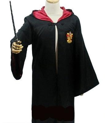 ハリーポッター グリフィンドール (ローブ + 眼鏡 + ネクタイ + 魔法の杖) 4点フルセット コスチューム 男女共用 Mサイズ