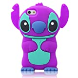 DE Cute 3D Cartoon Animal Series Apple iPhone 5C Case New Purple 3D Cartoon Stitch Movable Ear Shape Style Soft Silicone Rubber Case Protective Cover for Apple iPhone 5C Reviews