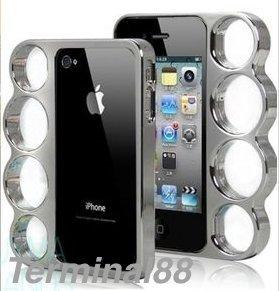 iPhone5, 5S case ケース セレブ 御用達! メリケンサック 風! ナックル 型 で持ちやすい メタリック な質感 もグッド! (シルバー)