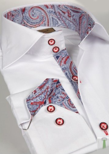 Jermyn street shirts Mens White Slim Fit formal Paisley Shirt - Medium