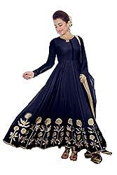 Aarsh Apparel women's Blue Georgette Anarkali Dress Materials