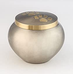 Medium Pet Funeral Urn by Liliane - Cremation Urn for Pet Ashes - Hand Made in Brass - Fits the Cremated Remains and Ashes of Dogs, Cats or other animals - Attractive Display Burial Urn (Assence Model) (Medium)