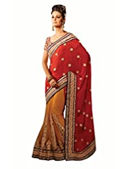Indian Ethnic Saree Glamorous Embroidered Georgette Saree By Triveni - Buy 1 Get 1 Free Combo
