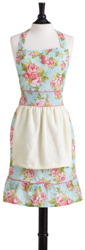 Jessie Steele Cottage Kitchen Rose Bib Farmer's Market Apron with towel