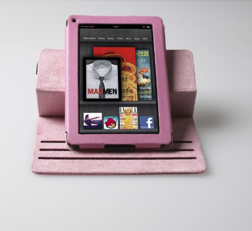 Poetic 360 degree Rotary leather case for Amazon Kindle Fire Landscape / Portrait View Light Pink Not compatible with Kindle Fire HD tablet