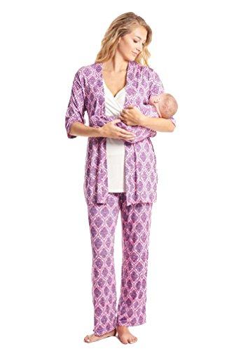 Everly Grey Roxanne 5 PC Mom & Baby Maternity Nursing Pajama Set - India Floral - Medium