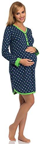 Cornette Camicie da Notte Premaman 654/09 (Blu Scuro/Verde, L)