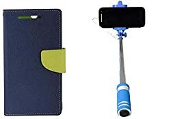 Novo Style Wallet Case Cover For Motorola Moto G (Gen 2) Blue + Wired Selfie Stick No Battery Charging Premium Sturdy Design Best Pocket Sized Selfie Stick