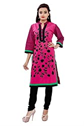MSONS Women's Pink Bales Embroidered Collar Neck Long Cotton Kurti