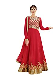 Nirali Womens Georgette Unstitched Salwar Suit Dress Material (Kimora 902 Noor _Red _Free Size)