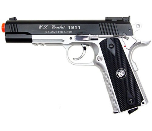500 FPS NEW WG AIRSOFT FULL METAL M 1911 GAS CO2 HAND GUN PISTOL w/ 6mm BB BBs,Heavy Weight Realistic 1:1 Scale (1911 Gas Magazine compare prices)