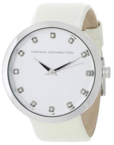 French Connection Women's FC1006S Stainless Steel White Leather Strap Watch
