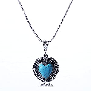 ARICO Bohemian vintage necklace ancient love turquoise necklace heart pendant necklace natural stone NB743
