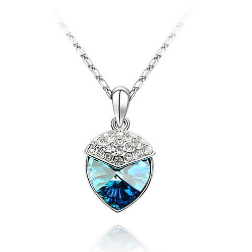 Top Value Jewelry - Lovely 18K Gold Plated Sapphire Blue Crystal Heart Pendant Necklace, Free 18 Inch Chain