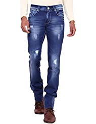 Kavis Mid Waist Dark Blue Colored Slim Fit Men's Jeans - B016WG1RDY