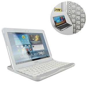 FlyStone® Samsung Galaxy Tab 10.1 P7500 / P7510 Keyboard Dock Smart Case Accessory Cover 3-in-1 Aluminum Bluetooth Wireless Keyboard, WiFi, 3G, 4G, LTE, 16GB, 32GB, 64GB (WHITE)