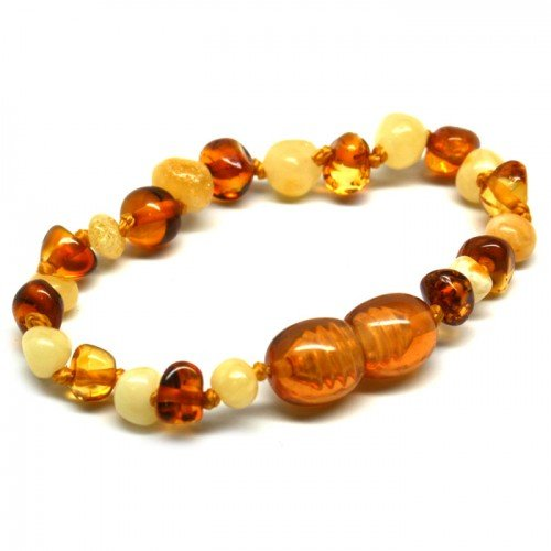 Bouncy Baby Boutique(Tm) - Certified Authentic Baltic Amber Teething Bracelet/Anklet - B63 Honey & Butterscotch