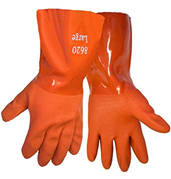 Global Glove 8620 FrogWear Premium Super Flexible PVC Glove, Chemical Resistent, Large, Red (Case of 72)