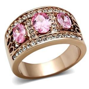 Three-Stone Rose Gold Tone Oval Rose Pink Cz Fashion Ring Band