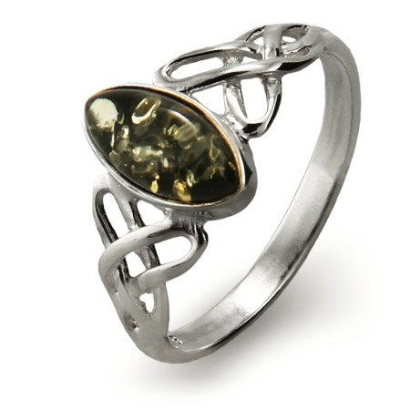 Genuine Green Baltic Amber Silver Celtic Knot Ring Size 6 (Sizes 5 6 7 8 Available)
