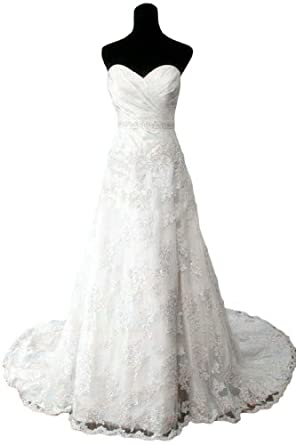 Sunvary Ivory Sweetheart Lace Bridal Dresses Wedding Gowns Long With Train Amazon Fashion