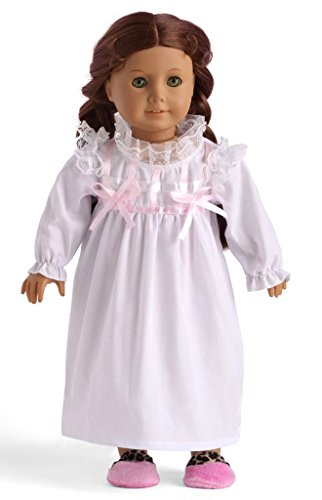 "White Sleeping Dress Pijimas Doll Clothes for 18"" American Girl Dolls - 1"