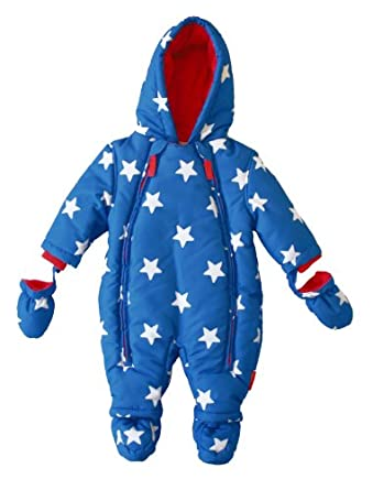 Toby Tiger Unisex Baby Star Snowsuit All-In-One Blue/ White 0 - 3 Months