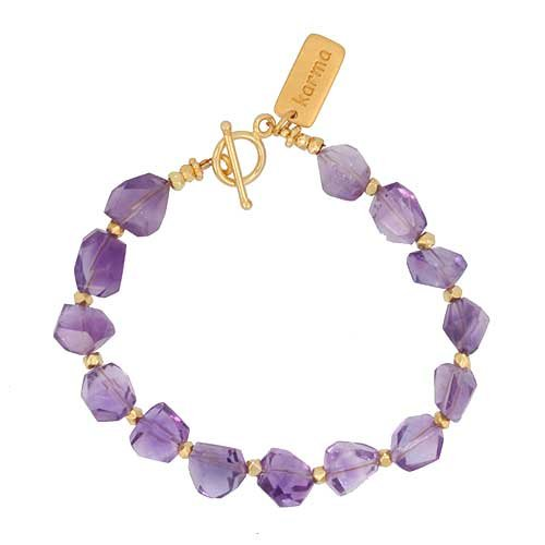 Chunky Amethyst Gemstone Beaded Bracelet with Gold Vermeil KARMA Tag and Accent Beads, 7