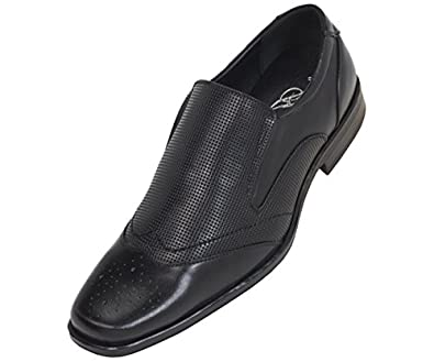 Bolano Mens Black Classic Burnished Smooth Wing Tip Slip On Dress Shoe Loafer with Perforated Vamp: Style 2703 Black-000 7.5 D (M) US