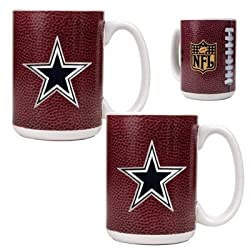 Dallas Cowboys 2pc 15oz Gameball Ceramic Mug Set - Primary logo NFL Football