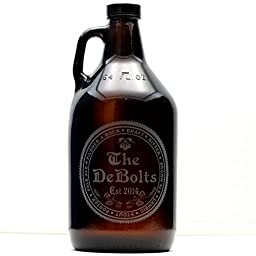 Personalized Engraved Newlywed Beer Growler Beer Names Theme | Custom Beer Gift