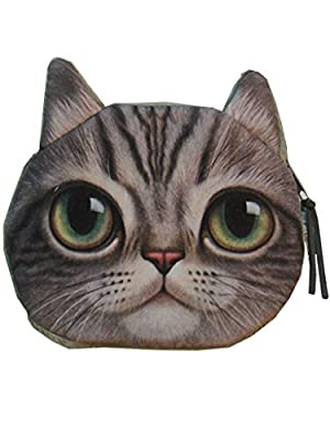 Enjoydeal Cute Lifelike Cat Face Bag Zipper Case Coin Money Purse Wallet Bag Pouch Handbag